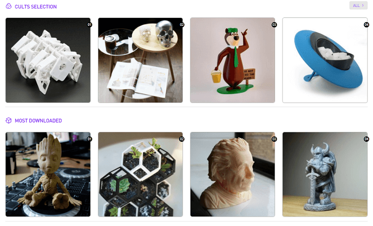Cults, a website for free STL files for 3D printing