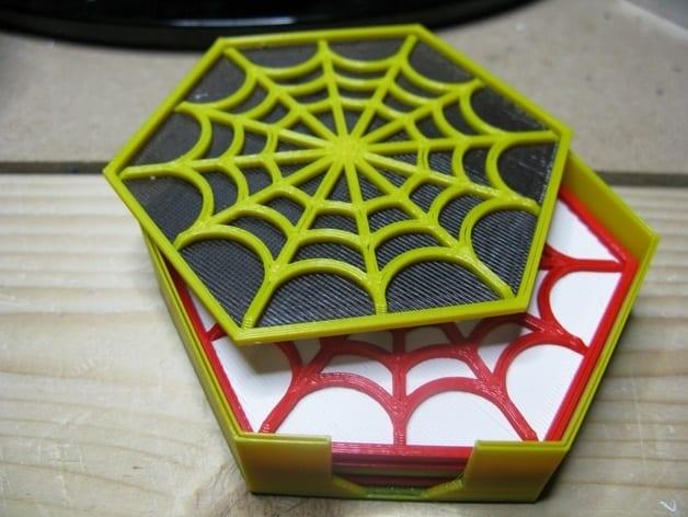 3D printed spider web coasters